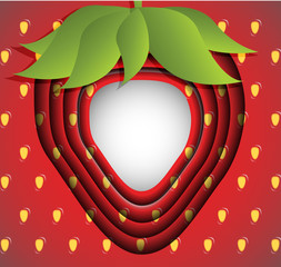 Strawberries greeting card or frame. Vector illustration.