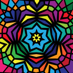 Colorful stained glass window design