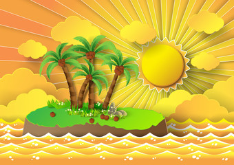 Tropical palm on island with sea and sunbeam.vector illustration