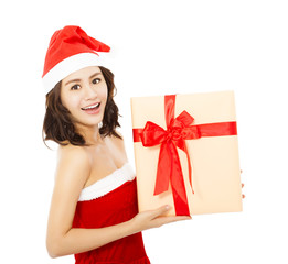 happy young woman with christmas gift box over white background