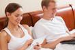 Happy couple addicted to internet
