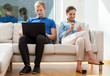 Couple spending free time with internet