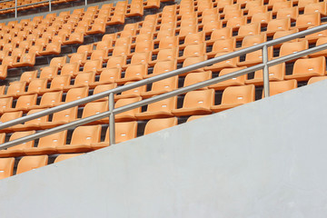 Seat of grandstand in an empty stadium
