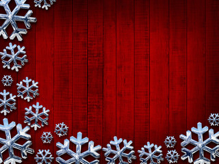 Christmas snowflakes silver and red wood background
