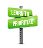 learn to prioritize street sign illustration poster