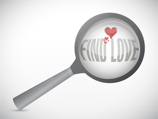 search for love. magnify search concept