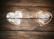 Love concept. Drawing on wooden wall background
