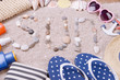 canvas print picture - Word sun made from sea shells and stones