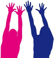 mains levées, bras en extension, joie, bonheur, fête