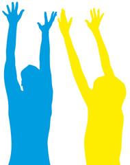 mains levées, bras en extension, joie, bonheur