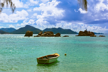 Tropical island and boat