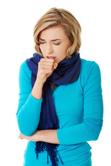 Young woman has a flu