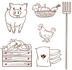 A simple sketch of the farm animals and the harvested vegetables