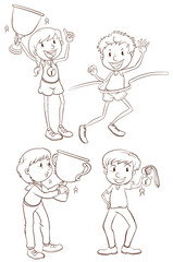 Sketches of the different winners