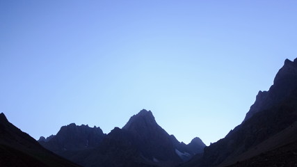 Moonlit night in the mountains. Time Lapse. Pamir. UltraHD (4K)