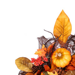 Pumpkin and Fall Leafs. Autumn or Thanksgiving Bouquet isolated.