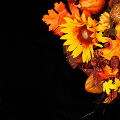 Autumn or Thanksgiving Bouquet over black background