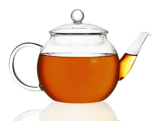 Teapot with tea isolated in white background