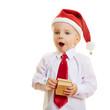 canvas print picture - Kind zu Weihnachten freut sich über Geschenk