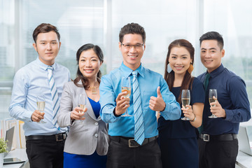 Cheerful Asian business team