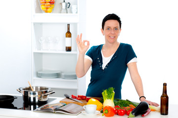 woman is cooking delicious food