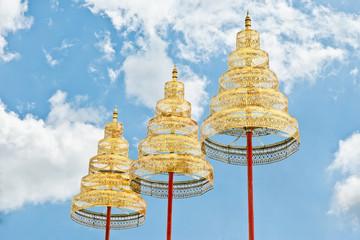 Metal tiered umbrella of Thai art