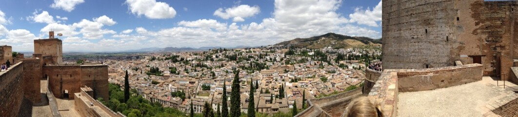 Alhambra Outlook to Old Town of Granada in Spain