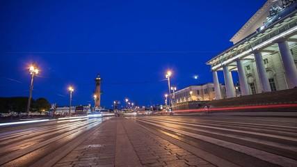 Old Saint Petersburg Stock Exchange. Night Time Lapse