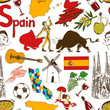 Sketch Spain seamless pattern