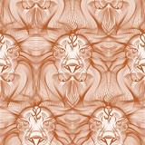 Repaint seamless pattern: old lion