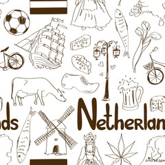 Sketch Netherlands seamless pattern