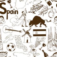 Sketch Spain seamless pattern