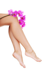 Beautiful female legs and an orchid flower
