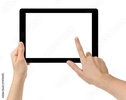 female teen hands using tablet pc with white screen - 70702412