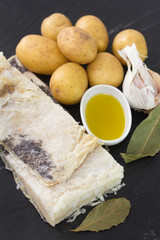 salted codfish with potato, olive oil and garlic
