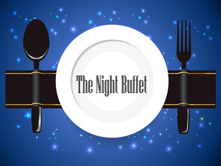 the night buffet, dinner, all you can eat buffet sign