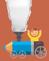 Boy on the crayon locomotive