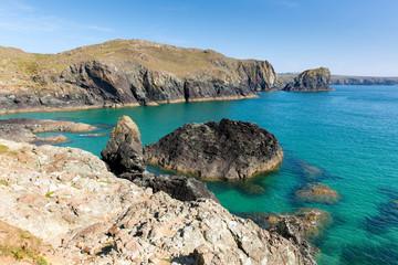 Turquoise sea and rocks Kynance Cove The Lizard Cornwall