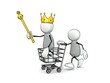 little sketchy men with king crown and shopping cart