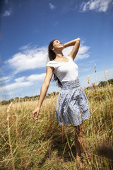 Attractive female relaxing in nature