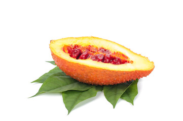Gac fruit healthy fruit on white background.