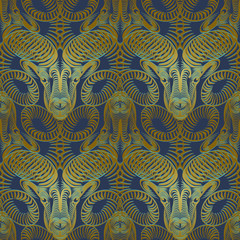Repaint seamless pattern: bronze ram