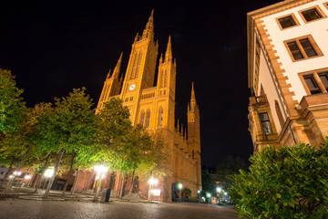 market church wiesbaden at night