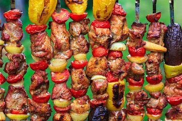 Meat with vegetables and potatoes, cooked for barbecue.