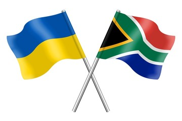 Flags: Ukraine and South Africa