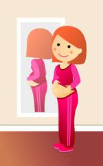 Embarazada mirandose al espejo