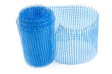 Plastic blue grid for plaster isolated on white