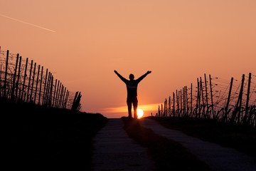 silhouette ofman standing in sunset with arms in air
