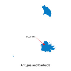 Map of Antigua and Barbuda with capital city
