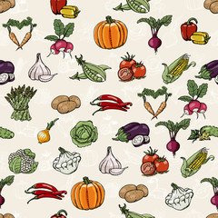 Seamless pattern with colored vegetables. Vector illustrations